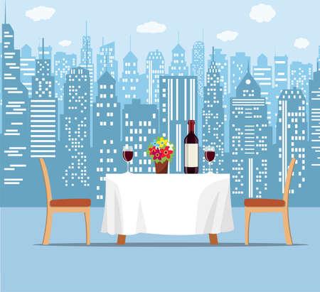 Summer outdoor cafe terrace illustration. Ilustração