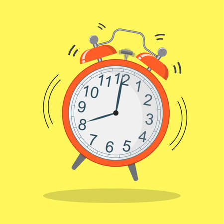 Cartoon alarm clock ringing. Wake up morning concept. flat style vector illustration icon 일러스트