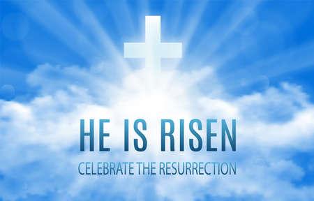 Él ha resucitado. Fondo de banner de Pascua con nubes y sol. Ilustración vectorial