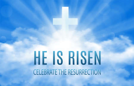 He is risen. Easter banner background with clouds and sun rise. Vector illustration