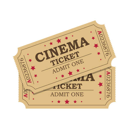 film industry: Retro cinema tickets icon on white background, Vector illustration in flat style Illustration