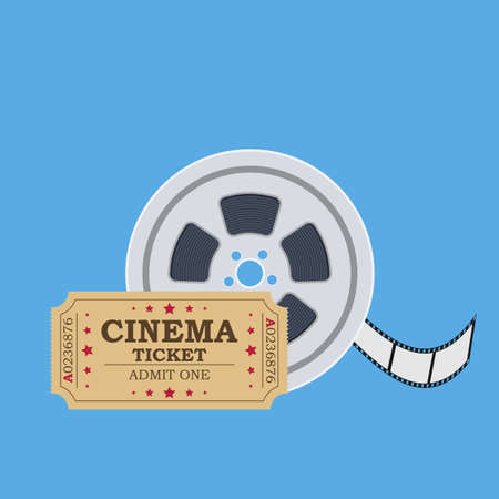 Retro cinema ticket and film reel. Vector illustration in flat style