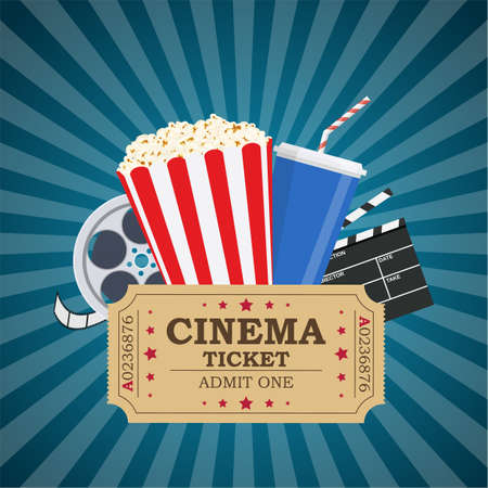 Movie poster template. Popcorn, soda takeaway, 3d cinema glasses, Film reel and tickets. Cinema design. Vector illustration in flat style