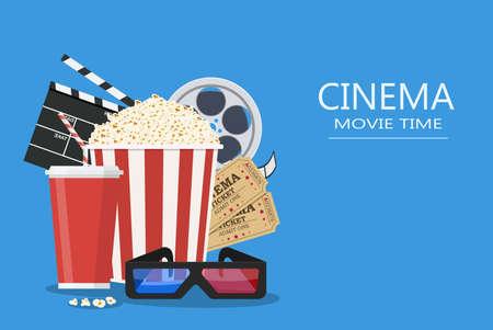 映画ポスターのテンプレートです。ポップコーン、ソーダ テイクアウト、映画館の 3 d メガネ、フィルムのリールとチケット。映画館の設計。フラ