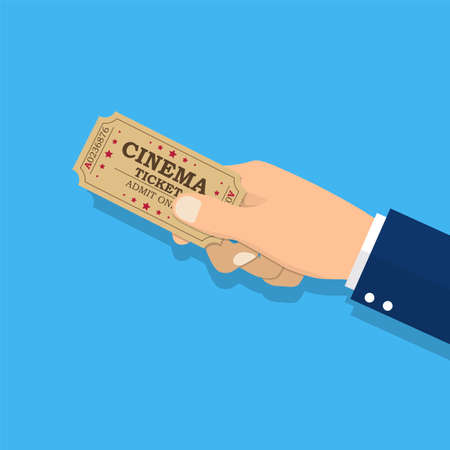 Hand holding a cinema ticket icon.
