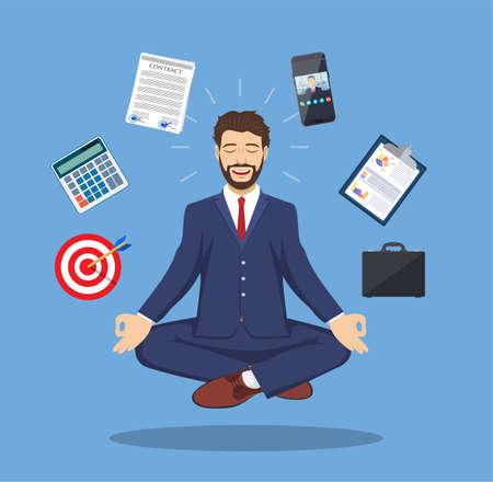 meditation man: Male entrepreneur meditating icon. Illustration