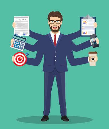 Multitasking mannelijke ondernemer pictogram. Stock Illustratie
