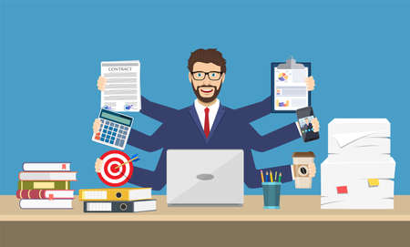 Happy male entrepreneur with many hands. Illustration