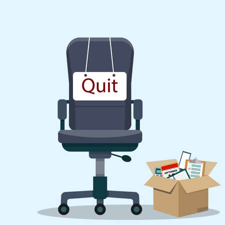 Office chair with quit message icon.