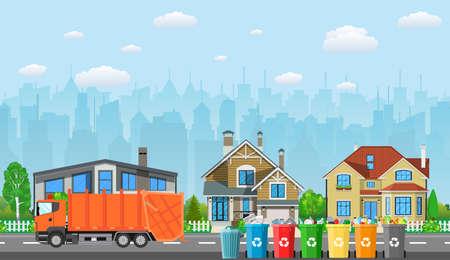 City Abfall-Recycling-Konzept-Symbol.