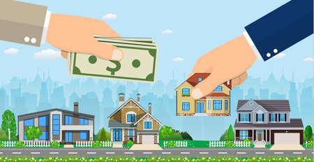 Human hands holding house and money illustration. Çizim