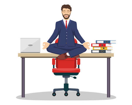 Business man, executive manager sitting on an office desk in yoga pose doing mindful meditation with smiling face