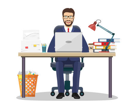 Business man or entrepreneur in a suit working at his office desk Vector illustration in flat style