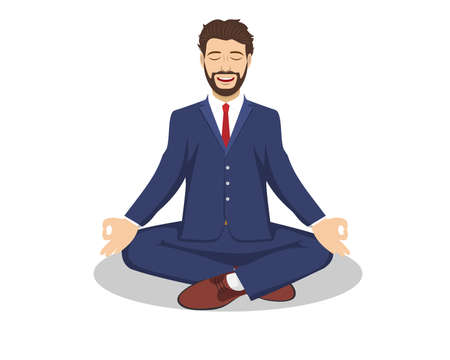 Business man sitting in the padmasana lotus pose. Office worker meditating, relaxing or doing yoga after stress and hard work day. Vector illustration in flat style Ilustração