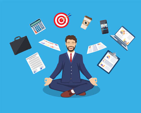 businessman meditating, time management, 矢量图像