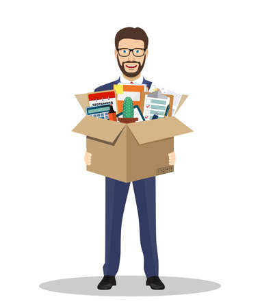 Businessman holding in a cardboard box Stock Vector - 85059834