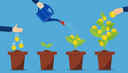 Investment and profit represented by hands watering and picking money plants. Financial growth concept. Vector illustration in flat style