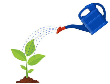 flat earth: Young plant with watering can vector illustration.