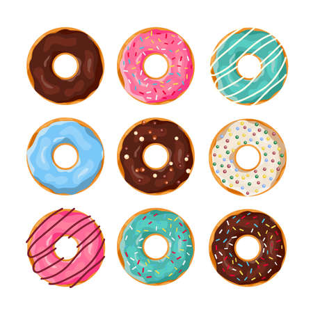 Set of cartoon donuts Stock Illustratie