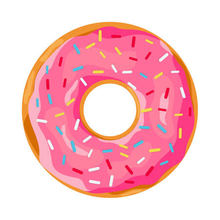 donut with pink glaze. donut icon, vector illustration in flat style Vettoriali