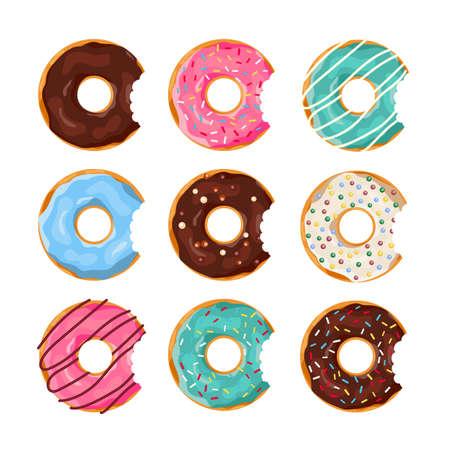 Ensemble de Beignets colorés avec une bouchée de bouche isolé sur fond blanc. Top View Collection de beignets en glaçure pour la conception de menus, la décoration de café, la boîte de livraison. illustration vectorielle dans un style plat