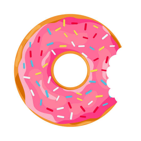 Donut with a mouth bite isolated on white background. vector illustration in flat style