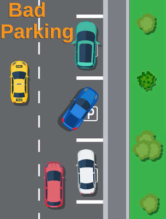 City parking lot with different cars.