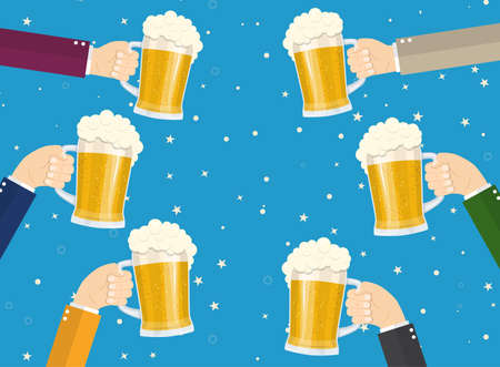 People clinking beer glasses. concept of cheering people party celebration. Vector illustration in flat style Illustration