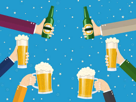 People clinking beer glasses and bottle of beer. concept of cheering people party celebration. Vector illustration in flat style