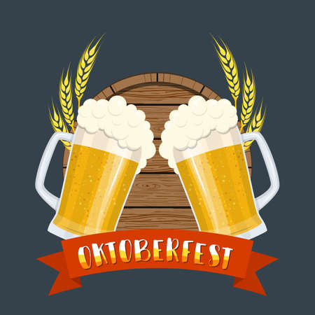 Glass of beer with craft foam lager ale on a wooden barrel. Oktoberfest beer festival cartoon poster, oktoberfest card design, menu, invitation. Vector illustration in flat style