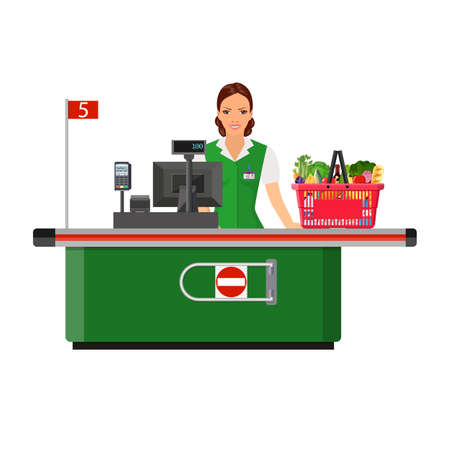 mujer en el supermercado: Woman cashier smiles buyer near the cash register supermarket. shopping cart with products. Vector illustration in flat style