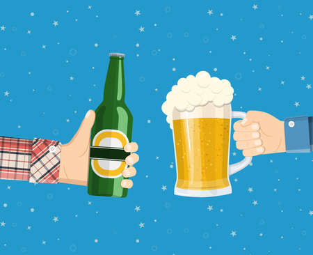 celebrate: Beer party. Hands holding beer glass and beer bottle. Concept of cheering people party celebration Illustration