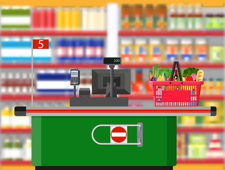 Supermarket interior. Cashier counter workplace.
