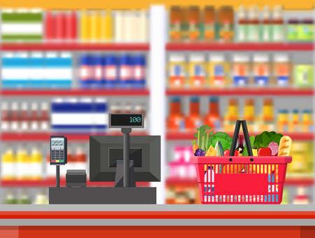 shop assistant: Supermarket interior. Cashier counter workplace.