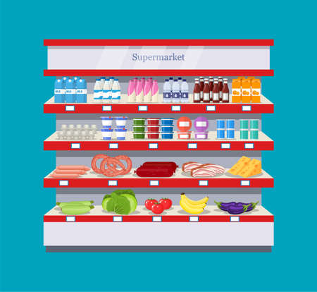 grocery shelves: Supermarket interior shelf