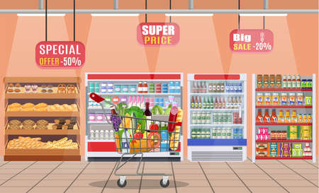 Supermarket store interior with goods. Illustration