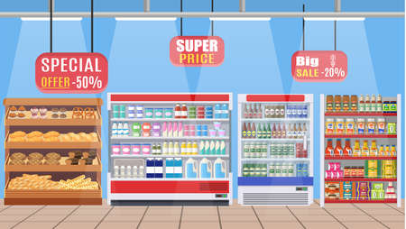 shop assistant: Supermarket store interior with goods. B