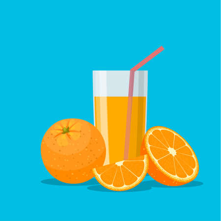 Orange juice in a glass. Vitamins for health