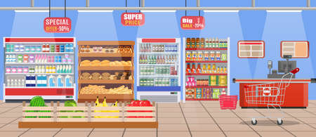 shop assistant: Supermarket store interior with goods. Big shopping mall. Interior store inside. Checkout counter, grocery, drinks, food, fruits, dairy products. Vector illustration in flat style