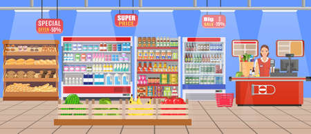 Supermarket store interior with goods. Big shopping mall. Interior store inside. Sales Woman Stand Near Cash Desk Vector illustration in flat style Stock Illustratie