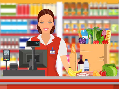 grocery shelves: Groceries cashier at work. Female checkout cashier with foods against shelves with goods. Vector illustration in flat style.
