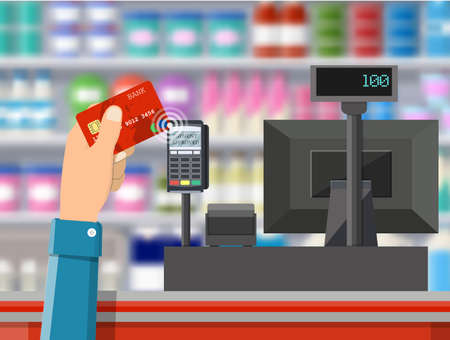 Pos terminal confirms payment by bank card.