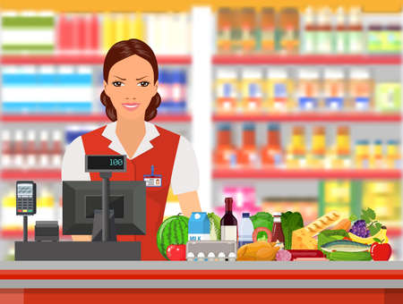 mujer en el supermercado: Groceries cashier at work. Female checkout cashier with foods against shelves with goods. Vector illustration in flat style.