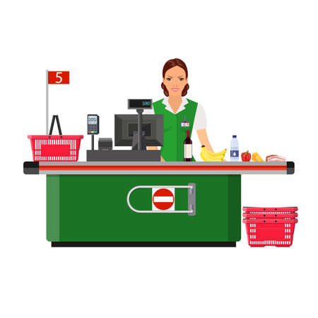 Woman cashier smiles buyer near the cash register