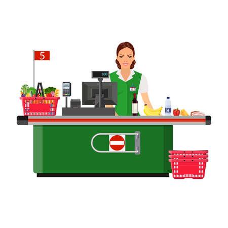 mujer en el supermercado: Woman cashier smiles buyer near the cash register