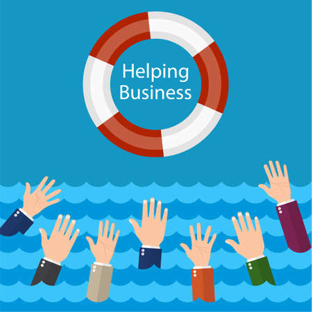 Helping Business survive. Drowning businessman getting lifebuoy for help, support, and survival.Vector illustration flat design. Illustration