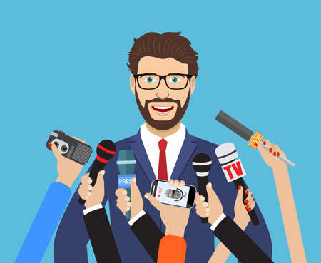 presence: Business man giving an interview in the presence of journalists with microphones. vector illustration in flat style