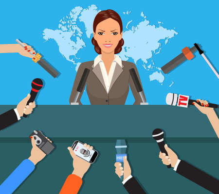 Press conference, world live tv news, interview. hands of journalists with microphones. vector illustration in flat style on blue background with world map Ilustração