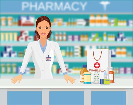 Modern interior pharmacy or drugstore. FeMale pharmacist. Shopping bag with different medical pills and bottles, healthcare and shopping. Vector illustration in flat style