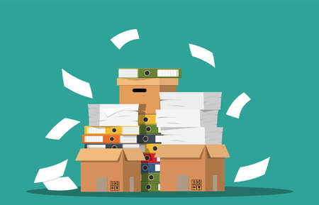 Pile of paper documents and file folders. Carton boxes. Bureaucracy, paperwork, office. Vector illustration in flat style Stok Fotoğraf - 88039070